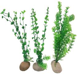Penn-Plax Rock Plant Ornament Green 12in