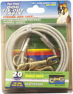 Four Paws Heavy Weight Tie Out Cable Silver 1ea/20 ft