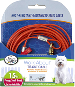 Four Paws Puppy Dog Tie Out Cable Red 1ea/15 ft