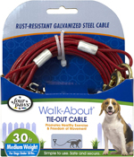 Four Paws Medium Weight Dog Tie Out Cable Red 1ea/30 ft