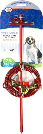 Four Paws Roam About Dog Tie Out Stake with Cable Red 1ea/25 ft