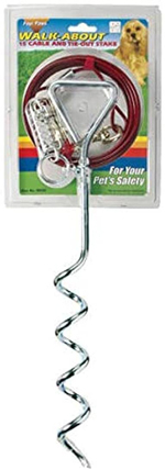 Four Paws Walk About Tie-Out Dog Spiral Stake Silver 1ea/15 Ft. Cable