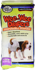 Four Paws Wee-Wee Disposable Dog Diapers 12 Count 1ea/Large / X-Large