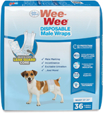 Four Paws Wee-Wee Disposable Male Dog Wraps 36 Count 1ea/X-Small / Small