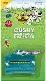 Bags on Board Cushy Waste Pick-up Bag Dispenser Teal 1ea/14 Bags, 9 In X 14 in